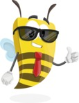 Bee Businessman Cartoon Vector Character AKA Lee the Business Bee - Sunglasses