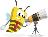 Bee Businessman Cartoon Vector Character AKA Lee the Business Bee - Telescope
