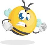 Simple Style Bee Cartoon Vector Character AKA Mr. Bubble Bee - Angry