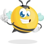 Simple Style Bee Cartoon Vector Character AKA Mr. Bubble Bee - Attention