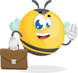 Simple Style Bee Cartoon Vector Character AKA Mr. Bubble Bee - Brifcase 2