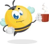 Simple Style Bee Cartoon Vector Character AKA Mr. Bubble Bee - Coffee