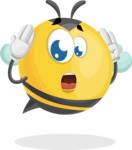 Simple Style Bee Cartoon Vector Character AKA Mr. Bubble Bee - Confused