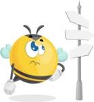 Simple Style Bee Cartoon Vector Character AKA Mr. Bubble Bee - Crossroad