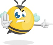 Simple Style Bee Cartoon Vector Character AKA Mr. Bubble Bee - Direct Attention 2