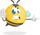 Simple Style Bee Cartoon Vector Character AKA Mr. Bubble Bee - Direct Attention