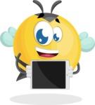 Simple Style Bee Cartoon Vector Character AKA Mr. Bubble Bee - iPad 2