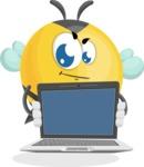 Simple Style Bee Cartoon Vector Character AKA Mr. Bubble Bee - Laptop 2