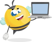 Simple Style Bee Cartoon Vector Character AKA Mr. Bubble Bee - Laptop 3