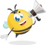 Simple Style Bee Cartoon Vector Character AKA Mr. Bubble Bee - Loudspeaker