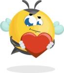 Simple Style Bee Cartoon Vector Character AKA Mr. Bubble Bee - Love