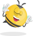 Simple Style Bee Cartoon Vector Character AKA Mr. Bubble Bee - Making Face