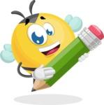 Simple Style Bee Cartoon Vector Character AKA Mr. Bubble Bee - Pencil