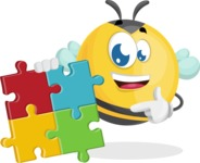 Simple Style Bee Cartoon Vector Character AKA Mr. Bubble Bee - Puzzle