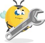 Simple Style Bee Cartoon Vector Character AKA Mr. Bubble Bee - Repair