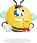 Simple Style Bee Cartoon Vector Character AKA Mr. Bubble Bee - Ribbon