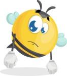 Simple Style Bee Cartoon Vector Character AKA Mr. Bubble Bee - Sad