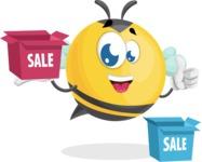 Simple Style Bee Cartoon Vector Character AKA Mr. Bubble Bee - Sale