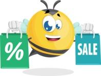 Simple Style Bee Cartoon Vector Character AKA Mr. Bubble Bee - Sale2