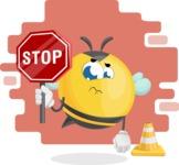 Simple Style Bee Cartoon Vector Character AKA Mr. Bubble Bee - Shape 10