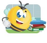 Simple Style Bee Cartoon Vector Character AKA Mr. Bubble Bee - Shape 2