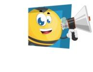 Simple Style Bee Cartoon Vector Character AKA Mr. Bubble Bee - Shape 3