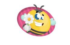 Simple Style Bee Cartoon Vector Character AKA Mr. Bubble Bee - Shape 4