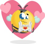 Simple Style Bee Cartoon Vector Character AKA Mr. Bubble Bee - Shape 6
