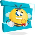 Simple Style Bee Cartoon Vector Character AKA Mr. Bubble Bee - Shape 8