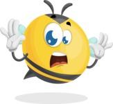 Simple Style Bee Cartoon Vector Character AKA Mr. Bubble Bee - Shocked