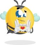 Simple Style Bee Cartoon Vector Character AKA Mr. Bubble Bee - Show Love