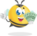 Simple Style Bee Cartoon Vector Character AKA Mr. Bubble Bee - Show me the Money