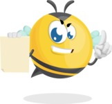 Simple Style Bee Cartoon Vector Character AKA Mr. Bubble Bee - Sign 2