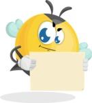 Simple Style Bee Cartoon Vector Character AKA Mr. Bubble Bee - Sign 4