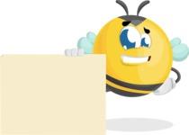 Simple Style Bee Cartoon Vector Character AKA Mr. Bubble Bee - Sign 7