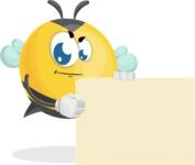 Simple Style Bee Cartoon Vector Character AKA Mr. Bubble Bee - Sign 8