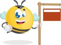 Simple Style Bee Cartoon Vector Character AKA Mr. Bubble Bee - Sign 9
