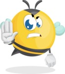 Simple Style Bee Cartoon Vector Character AKA Mr. Bubble Bee - Stop
