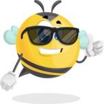 Simple Style Bee Cartoon Vector Character AKA Mr. Bubble Bee - Sunglasses