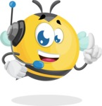 Simple Style Bee Cartoon Vector Character AKA Mr. Bubble Bee - Support 2
