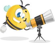Simple Style Bee Cartoon Vector Character AKA Mr. Bubble Bee - Telescope