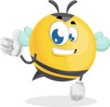 Simple Style Bee Cartoon Vector Character AKA Mr. Bubble Bee - Thumbs Up
