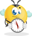 Simple Style Bee Cartoon Vector Character AKA Mr. Bubble Bee - Time is Yours