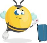 Simple Style Bee Cartoon Vector Character AKA Mr. Bubble Bee - Travel 1