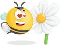 Simple Style Bee Cartoon Vector Character AKA Mr. Bubble Bee - Turned off