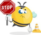 Simple Style Bee Cartoon Vector Character AKA Mr. Bubble Bee - Under Construction 1