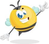 Simple Style Bee Cartoon Vector Character AKA Mr. Bubble Bee - Wave