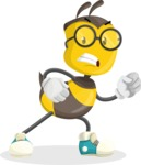 School Bee Cartoon Vector Character AKA Shelbee Sting - Angry
