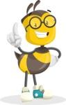 School Bee Cartoon Vector Character AKA Shelbee Sting - Attention