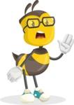 School Bee Cartoon Vector Character AKA Shelbee Sting - Bored